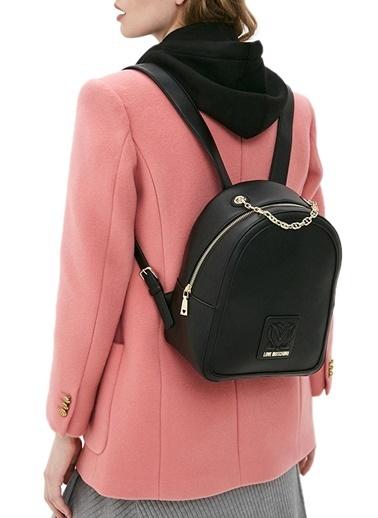 Love Moschino   Marka Logolu Zincir Askı Detaylı Sırt Çanta Kadın Çanta Jc4115Pp1Clk100A Siyah
